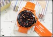 IBSO สายหนังแท้ สีส้ม ตัวเรือนสีดำ หน้าปัด 4.3 cm กันน้ำได้