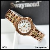 นาฬิกาข้อมือ Swaymond  สายเลสสีน้ำตาล หน้าปัดสีขาว 2.5 cm